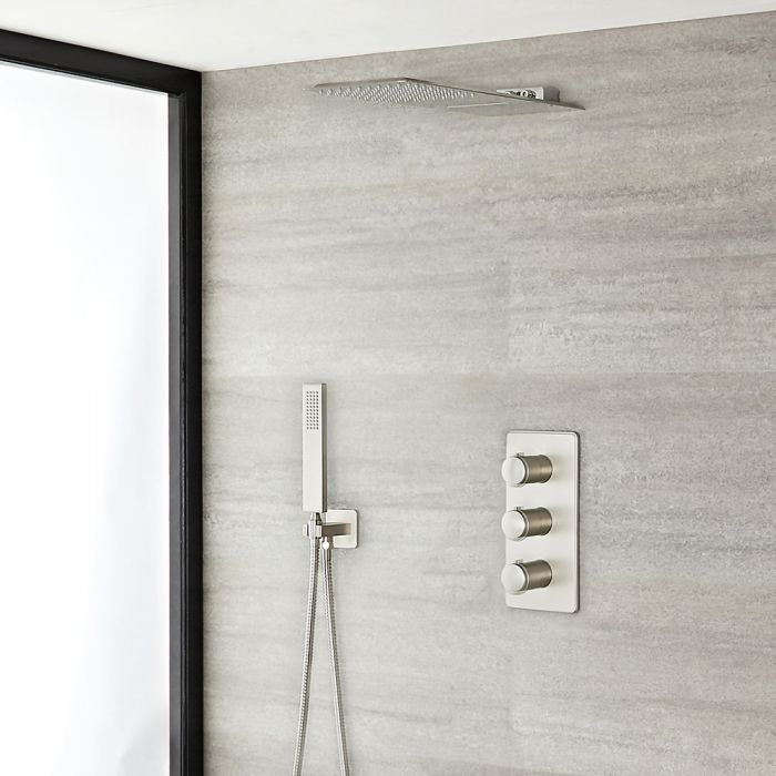Milano Hunston - Brushed Nickel Thermostatic Shower with Diverter, Waterblade Shower Head and Hand Shower (3 Outlet)