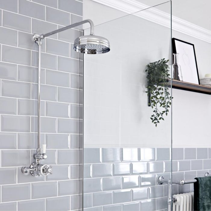 Milano Elizabeth - Chrome and White Traditional Twin Exposed Thermostatic Shower with Round Shower Head and Rigid Riser Rail (1 Outlet)