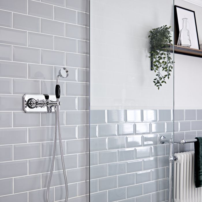 Milano Elizabeth - Chrome and Black Traditional Thermostatic Shower and Round Hand Shower (1 Outlet)