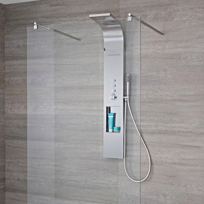 Milano Vista - Modern Exposed Thermostatic Shower Tower Panel with Shelf, Large Shower Head and Hand Shower - Chrome