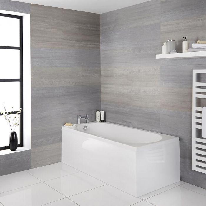 Milano Rivington - White Modern Standard Single Ended Bath - Choice of Sizes