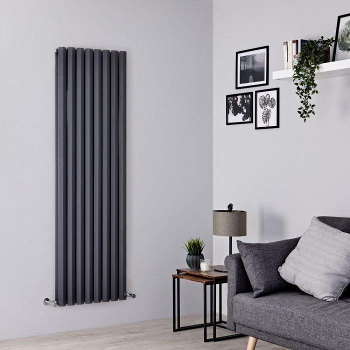 Milano Viti - Anthracite Diamond Panel Vertical Designer Radiator - 1780mm x 560mm (Double Panel)