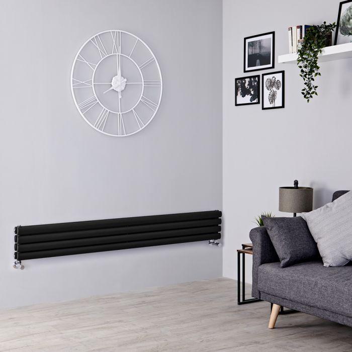 Milano Aruba Slim - Black Space-Saving Horizontal Designer Radiator - 236mm x 1780mm (Double Panel)