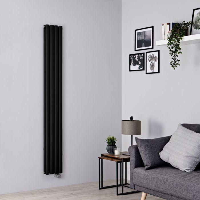 Milano Aruba Slim Electric - Black Vertical Designer Radiator - 1780mm x 236mm (Double Panel)