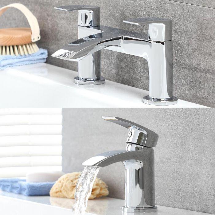 Milano Razor - Modern Deck Mounted Basin and Matching Bath Filler Tap Set - Chrome