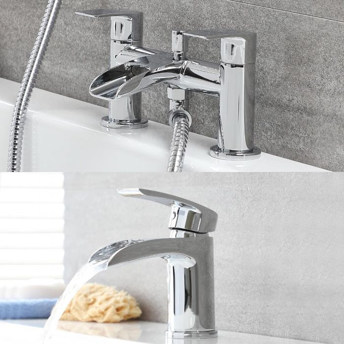 Milano Razor - Modern Waterfall Basin Tap with Matching Bath Mixer Tap and Hand Shower Set - Chrome