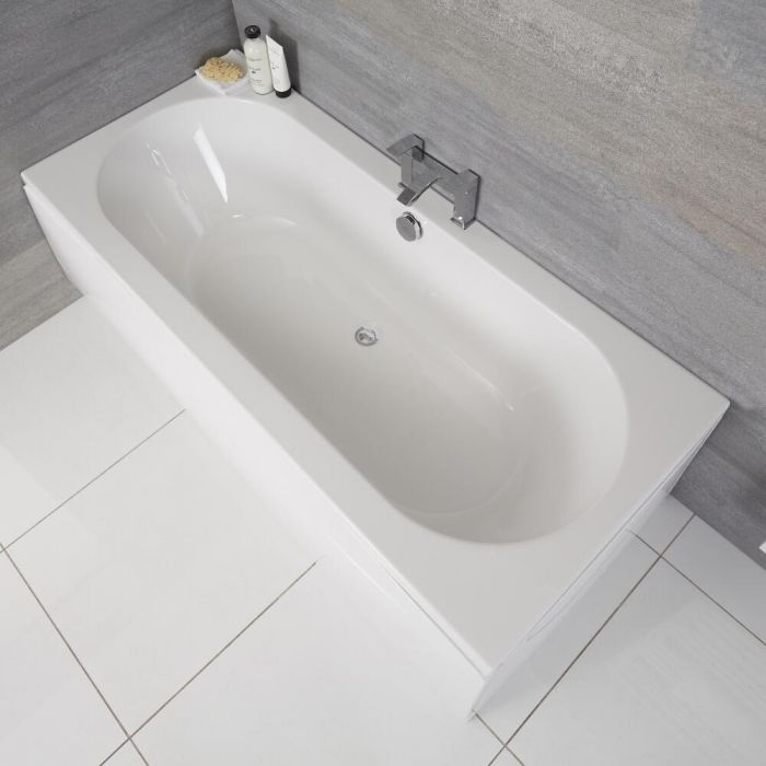 Milano Overton - White Modern Double-Ended Standard Bath - 1700mm x 750mm