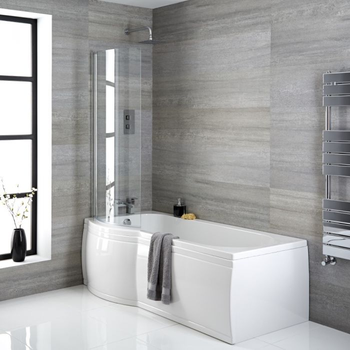 Milano Newby - Left Hand P-Shape Shower Bath - Choice of Size, Panels, Screen and Waste