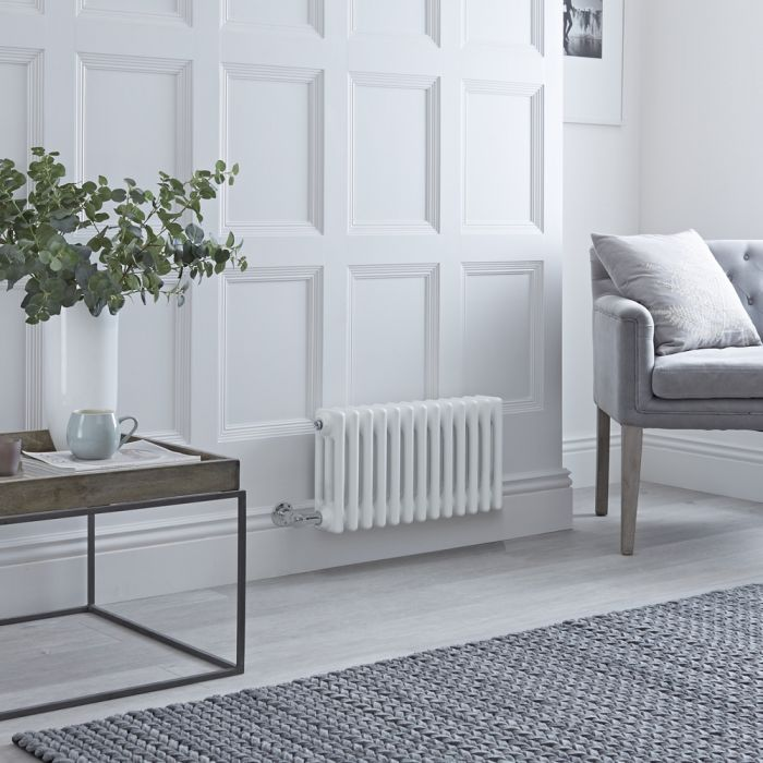 Milano Windsor - Traditional White 3 Column Electric Radiator - 300mm x 605mm (Horizontal) - with Choice of Wi-Fi Thermostat