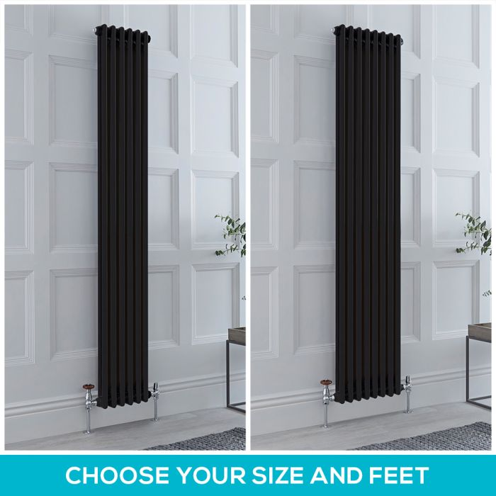 Milano Windsor - Black 1880mm Vertical Traditional Double Column Radiator - Choice of Size and Feet