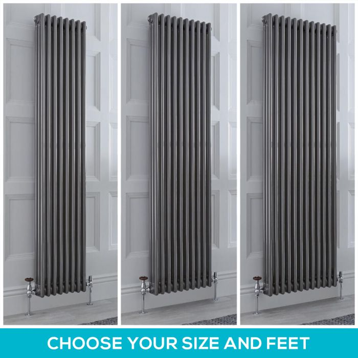 Milano Windsor - Lacquered Metal 1800mm Vertical Traditional Triple Column Radiator - Choice of Size and Feet