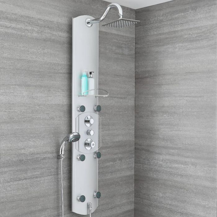 Milano Baya - Modern Exposed Thermostatic Aluminium Shower Tower Panel with Large Shower Head, Hand Shower and Body Jets - Chrome