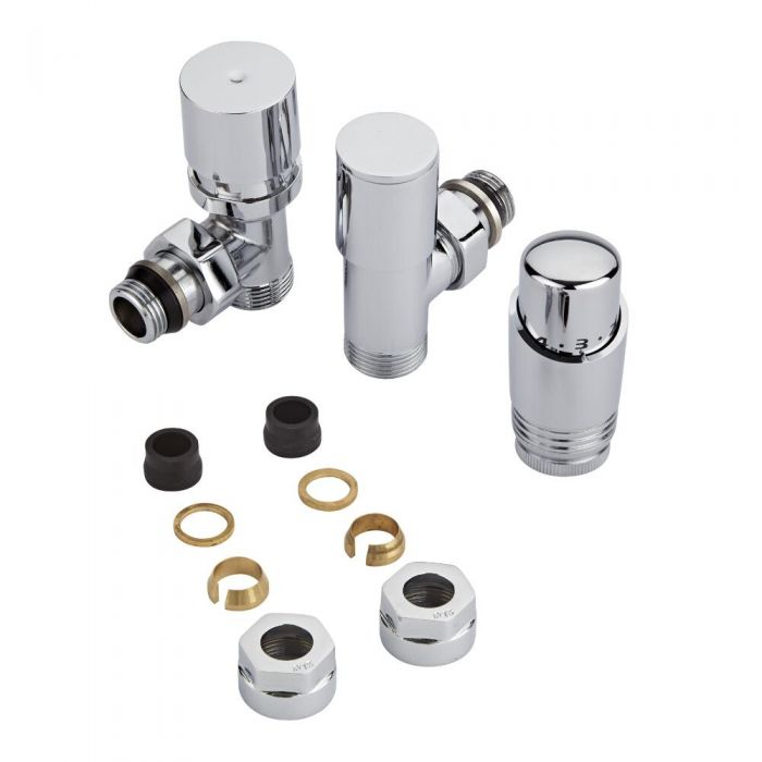 Milano - Chrome Radiator Valve With Chrome TRV - 15mm Copper Adapters