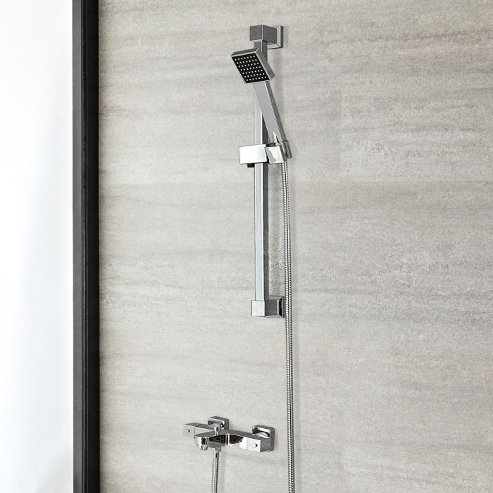 Milano Arvo - Chrome Thermostatic Bath Shower Mixer Tap with Hand Shower and Riser Rail (2 Outlet)