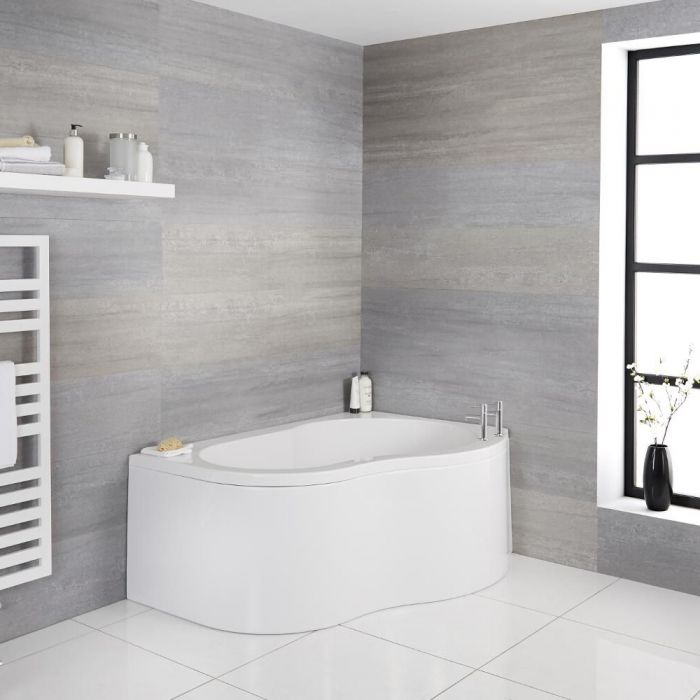 Milano Irwell - White Modern Right Hand Corner Bath with Panel - 1500mm x 1000mm