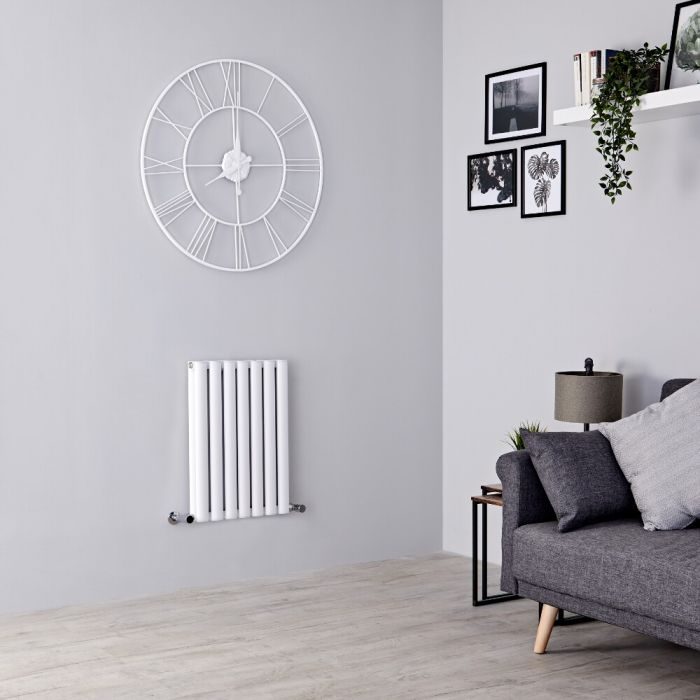 Milano Aruba - White Horizontal Designer Radiator - 600mm x 415mm (Double Panel)