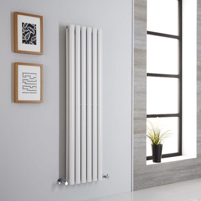 Milano Aruba - White Vertical Designer Radiator - 1400mm x 354mm (Double Panel)