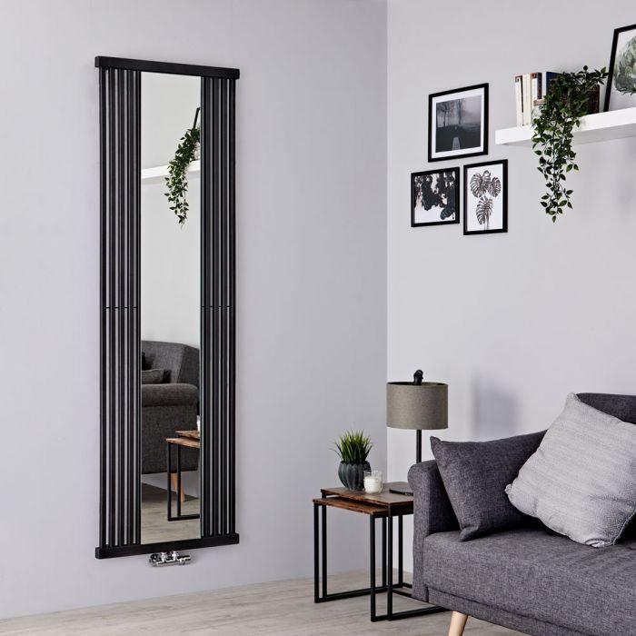 Terma Intra - Black Vertical Designer Radiator With Mirror - 1700mm x 640mm