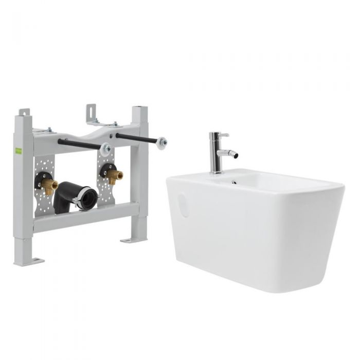 Milano Elswick - White Modern Wall Hung Bidet with Frame and Tap