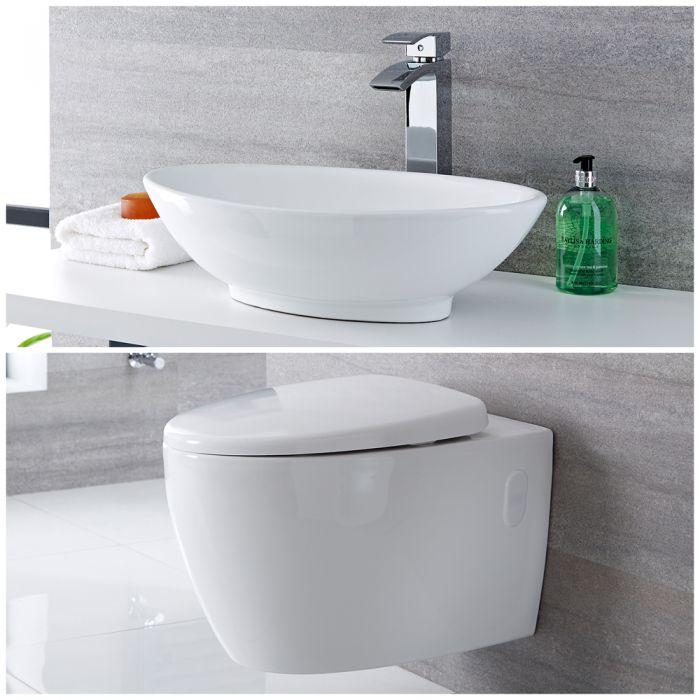 Milano Altham - Modern Rimless Wall Hung Toilet and Countertop Basin Set