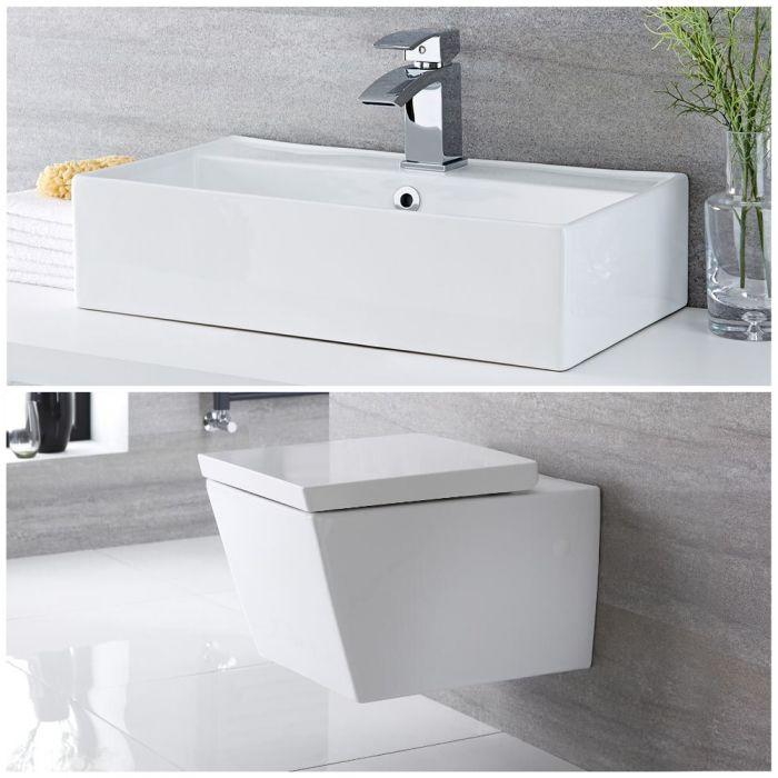 Milano Dalton - Modern Wall Hung Toilet and Countertop Basin Set