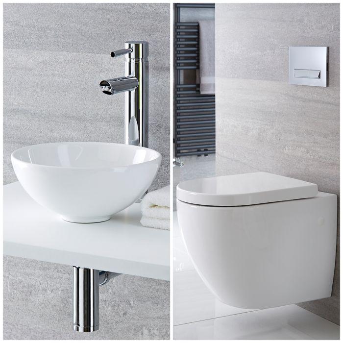 Milano Irwell - Modern Rimless Wall Hung Toilet and Countertop Basin Set