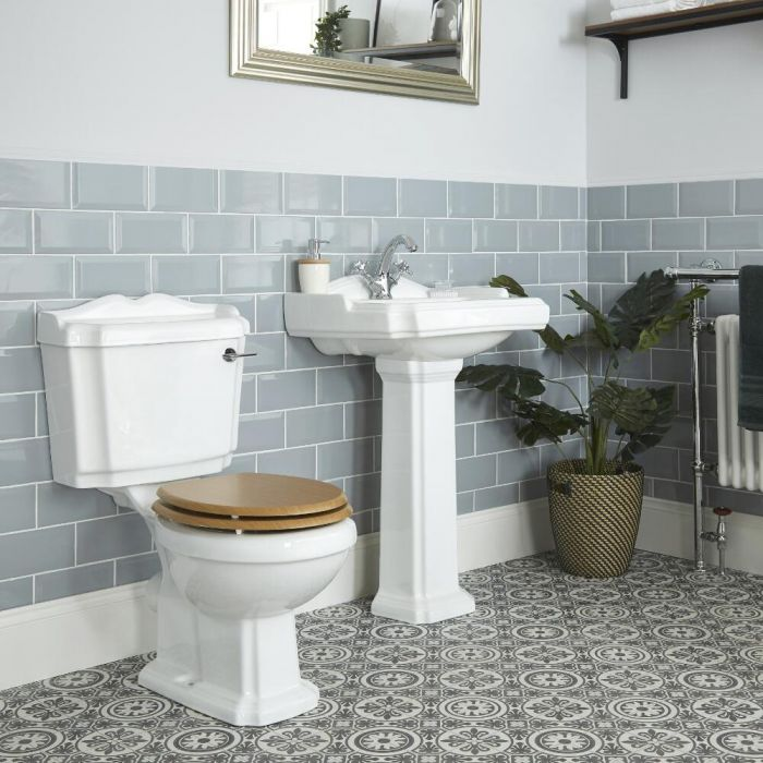 Milano Legend - Traditional Close Coupled Toilet and Pedestal Basin Set
