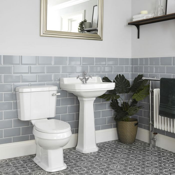 Milano Richmond - Traditional Close Coupled Toilet and Pedestal Basin Set