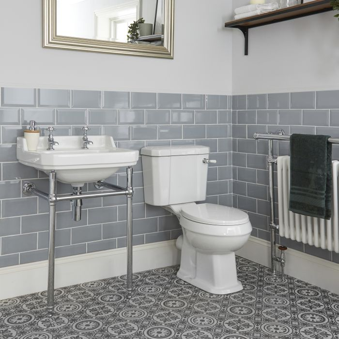 Milano Richmond - Traditional Close Coupled Toilet and Washstand Basin Set