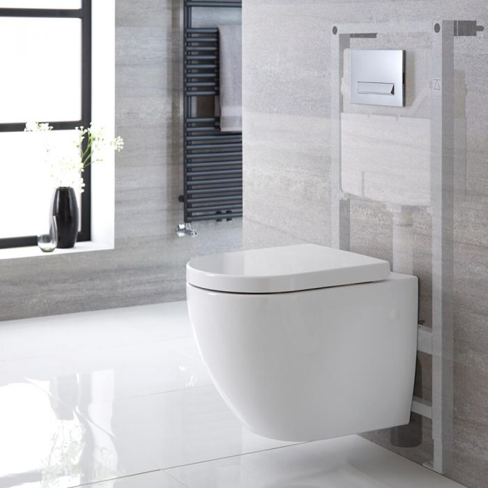 Milano Irwell - White Modern Rimless Wall Hung Toilet with Tall Wall Frame - Choice of Flush Plate