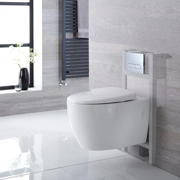 Milano Altham - White Modern Rimless Wall Hung Toilet with Short Wall Frame - Choice of Flush Plate