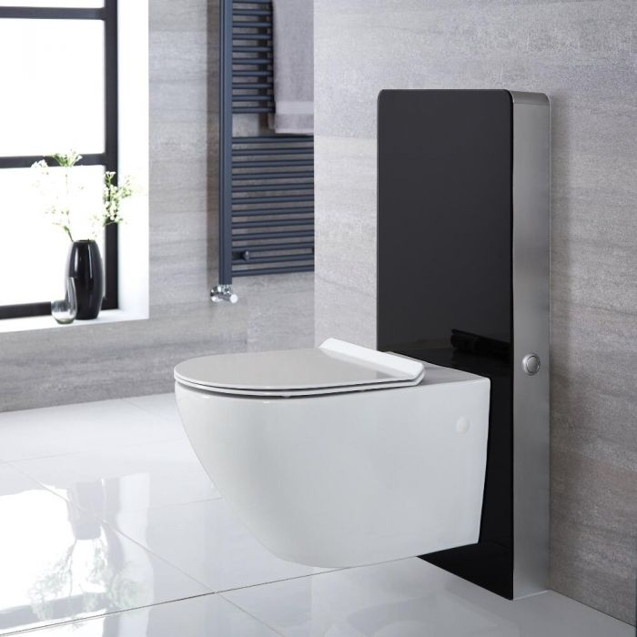 Milano Arca - Black 500mm Complete WC Unit with Overton Toilet