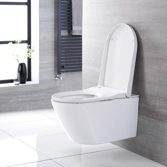 Milano Luxus - Wall Hung Japanese Bidet Toilet with Tall Wall Frame - Choice of Flush Plate