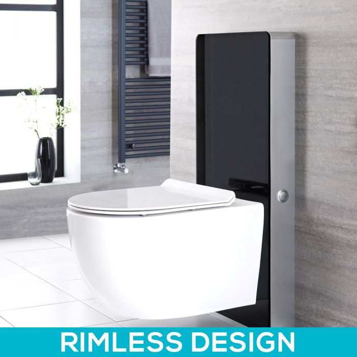 Milano Arca - Black 500mm Complete WC Unit with Overton Rimless Toilet