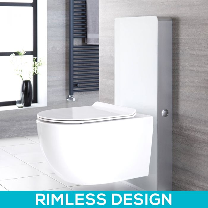 Milano Arca - White 500mm Complete WC Unit with Overton Rimless Toilet