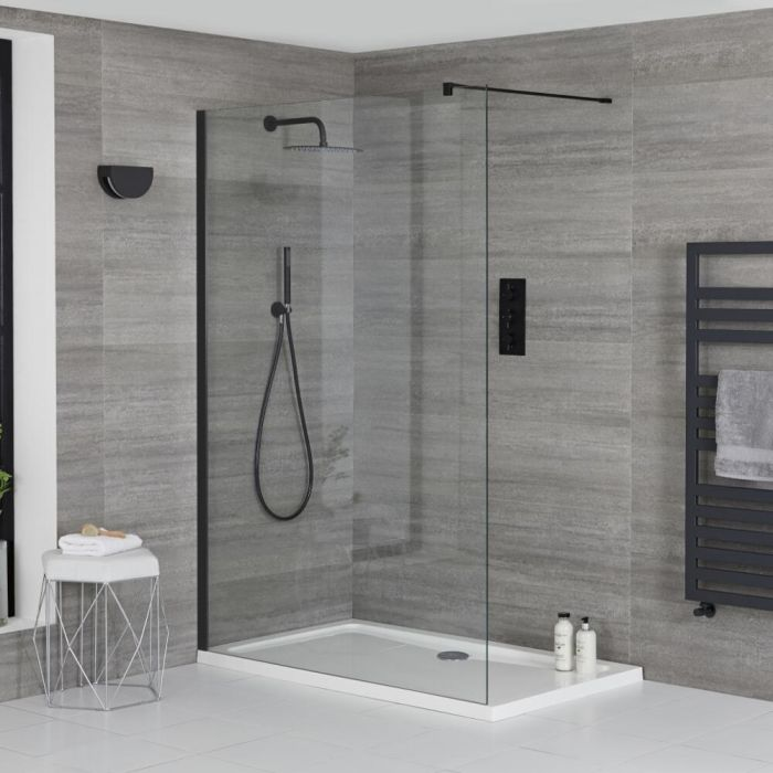 Milano Nero - Walk-In Shower Enclosure with Tray - Choice of Sizes