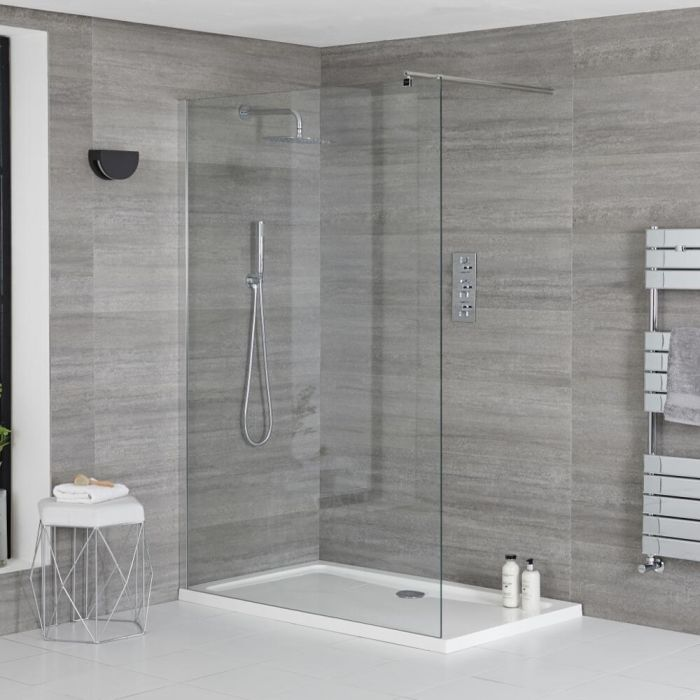 Milano Portland - Walk-In Shower Enclosure with Tray - Choice of Sizes