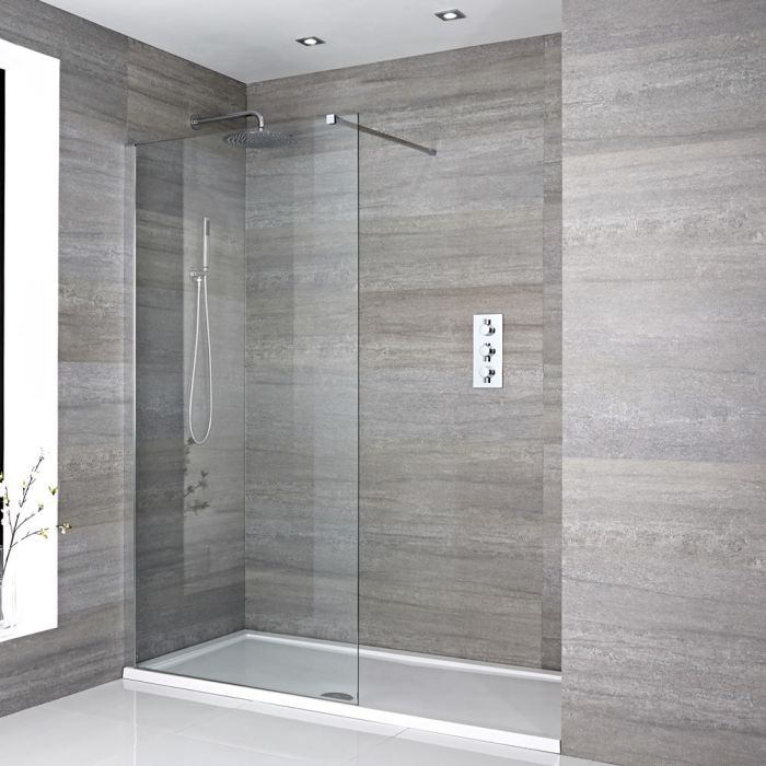 Milano Portland - Recessed Walk-In Shower Enclosure with Tray - Choice of Sizes