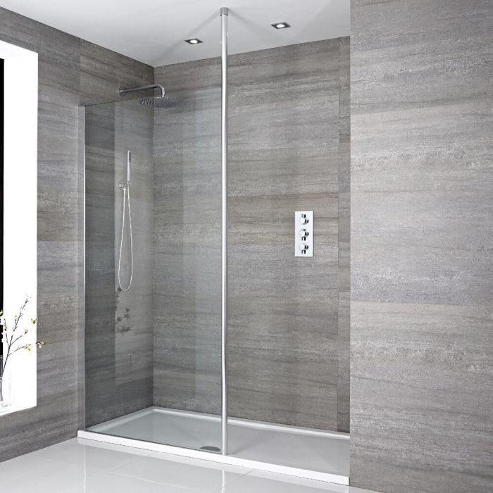 Milano Alto - Recessed Walk-In Shower Enclosure with Tray - Choice of Sizes