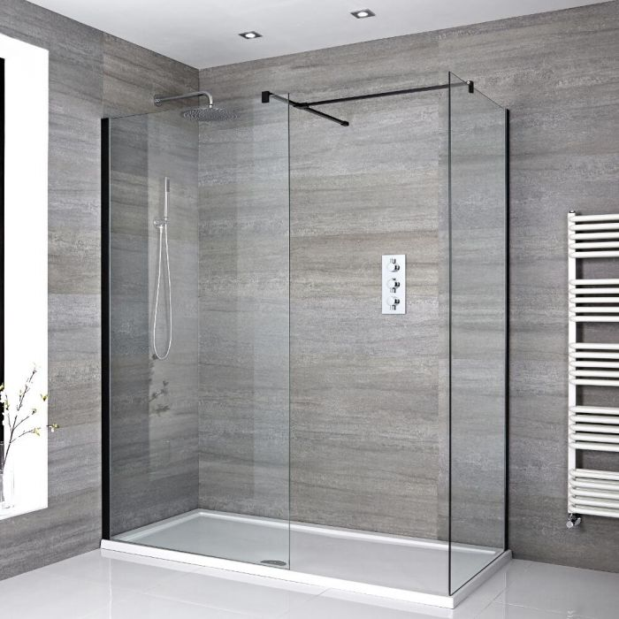 Milano Nero - Corner Walk-In Shower Enclosure with Tray - Choice of Sizes