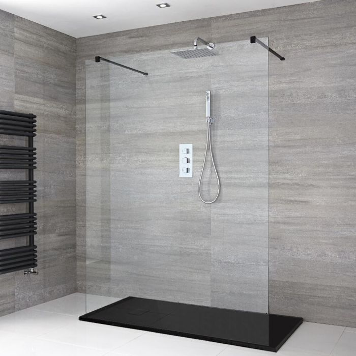 Milano Nero - Floating Walk-In Shower Enclosure with Slate Tray - Choice of Sizes