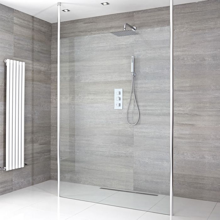 Milano Alto - Floating Wet Room Shower Enclosure - Choice of Glass Size & Drain
