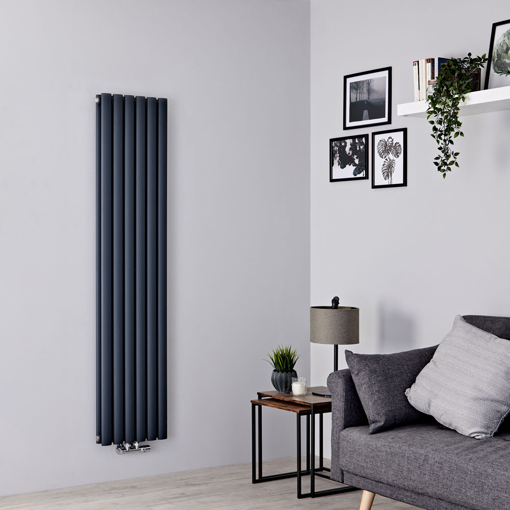 Milano Aruba Flow - Anthracite Vertical Middle Connection Designer Radiator - 1600mm x 354mm (Double Panel)