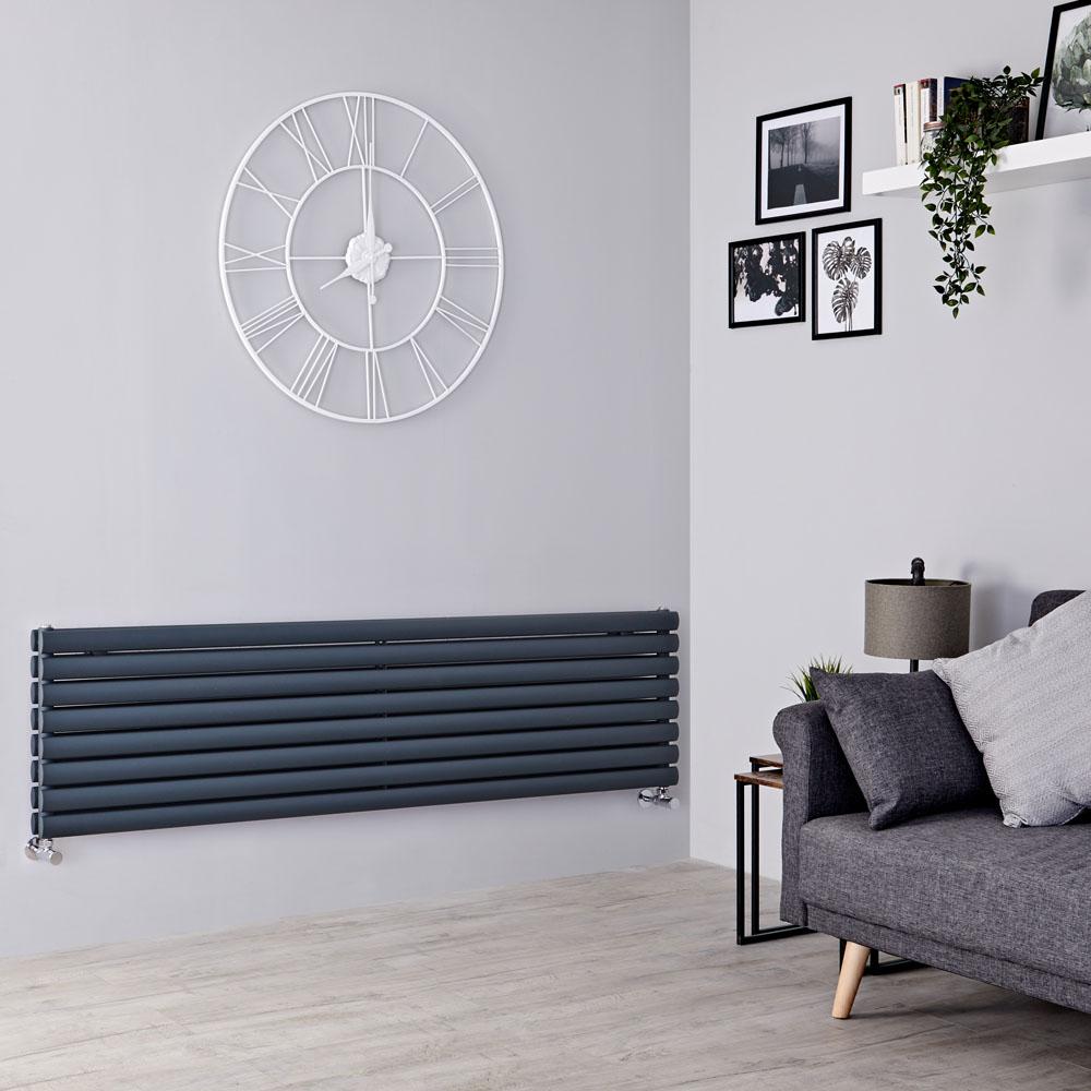 Milano Aruba - Anthracite Horizontal Designer Radiator - 472mm x 1600mm (Double Panel)