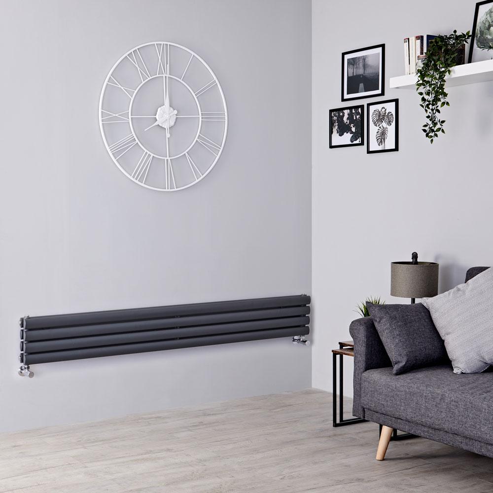 Milano Aruba Slim - Anthracite Space-Saving Horizontal Designer Radiator - 236mm x 1600mm (Double Panel)