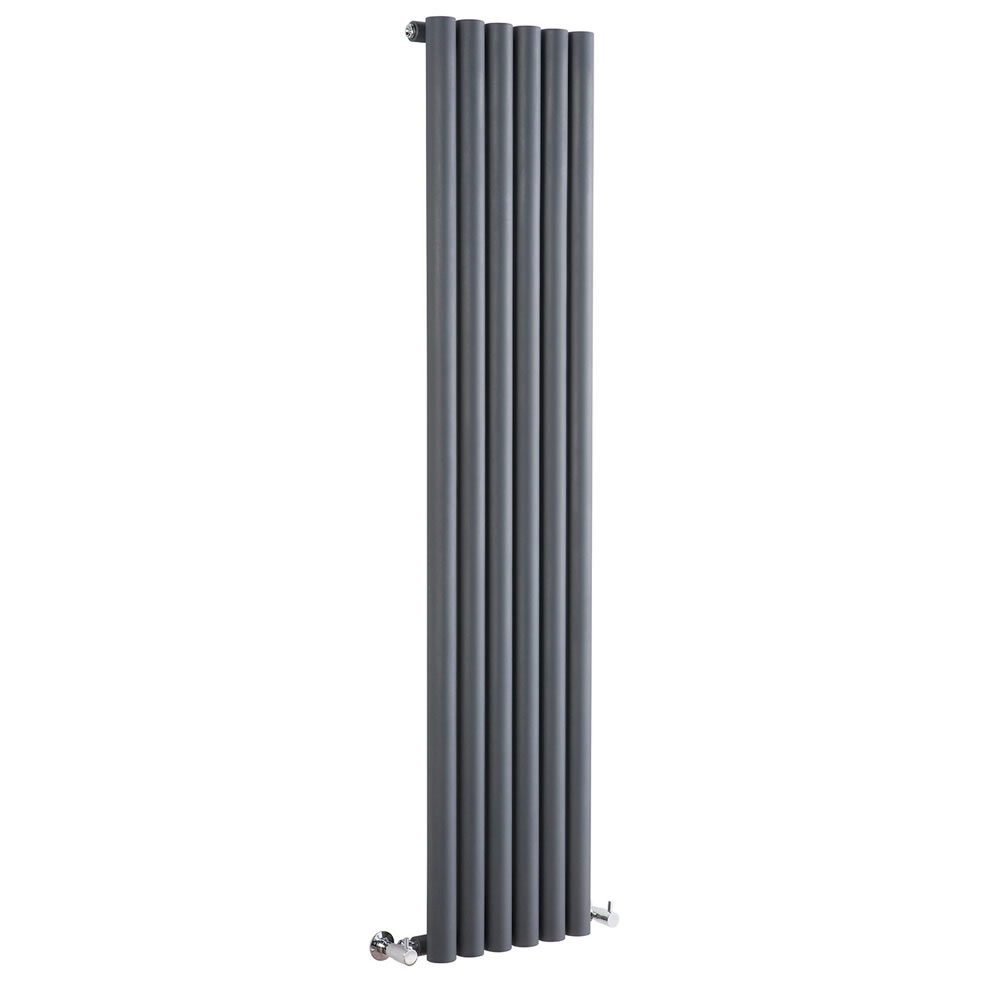 Java - Anthracite Vertical Round Tube Designer Radiator 1600mm x 354mm