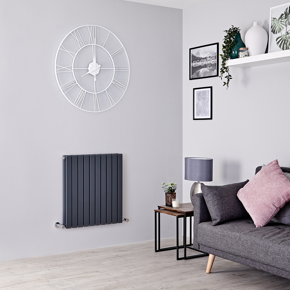 Milano Capri - Anthracite Flat Panel Horizontal Designer Radiator - 635mm x 600mm (Double Panel)