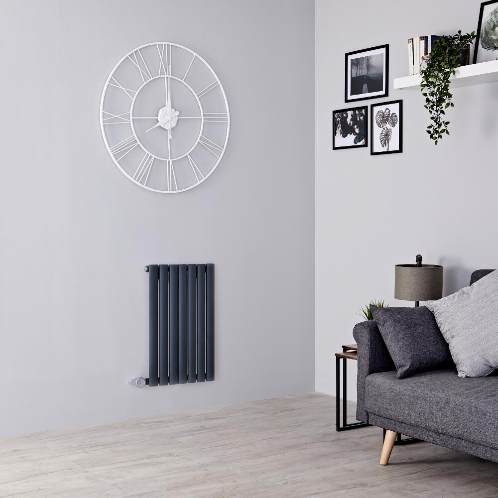 Milano Aruba Electric - Anthracite Horizontal Designer Radiator - 635mm x 415mm