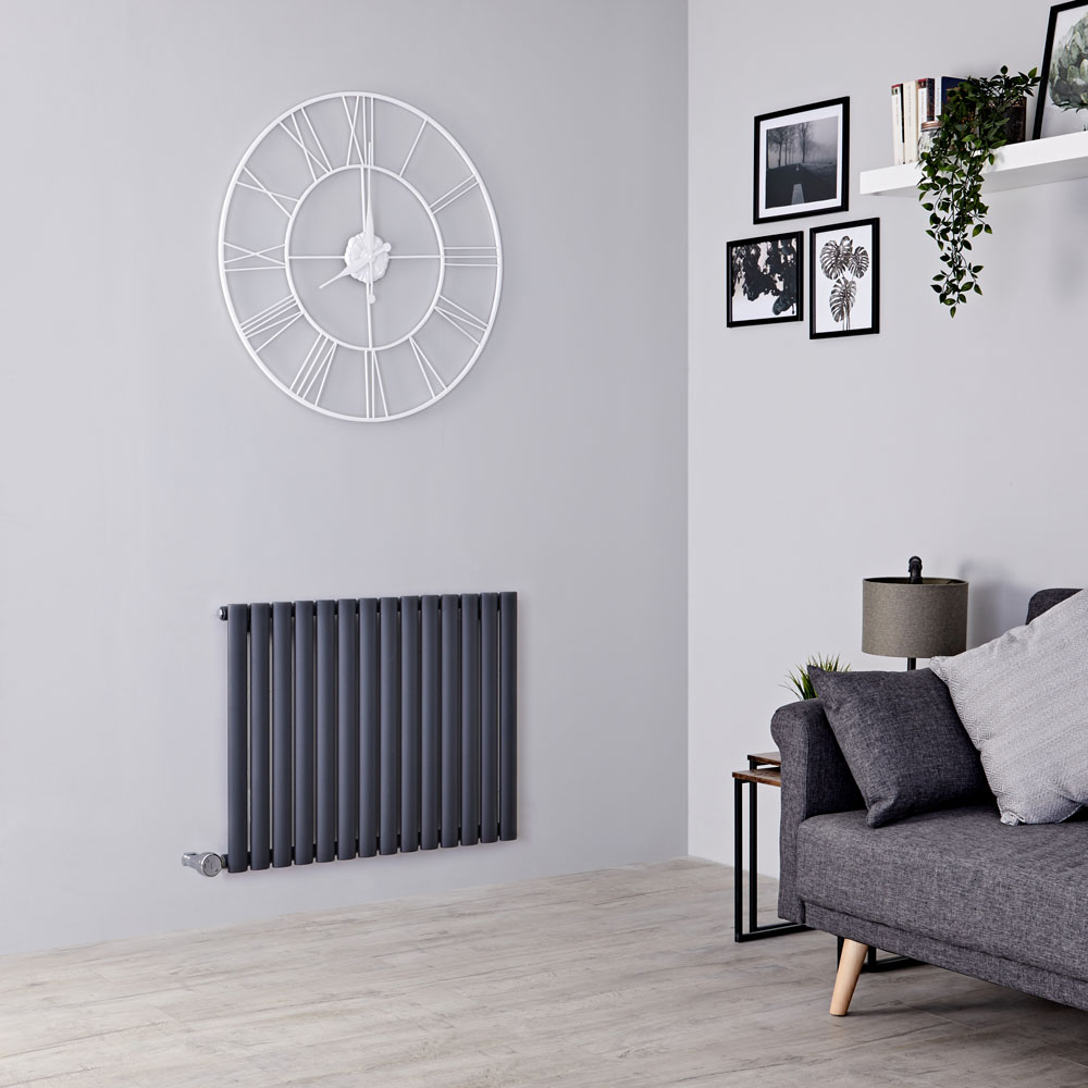 Milano Aruba Electric - Anthracite Horizontal Designer Radiator - 635mm x 834mm