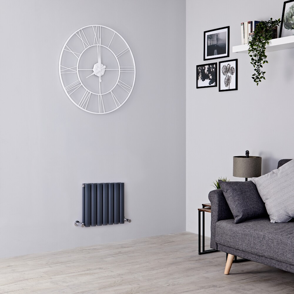 Milano Aruba - Anthracite Horizontal Designer Radiator - 400mm x 415mm (Double Panel)